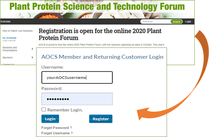 Use your AOCS credentials to login in the upper right-hand side of the screen;